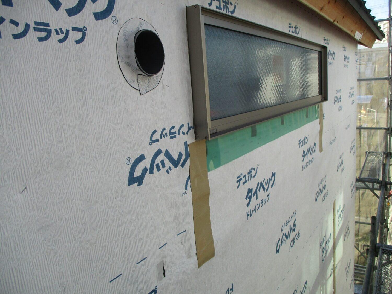 北区にて外壁防水紙工事